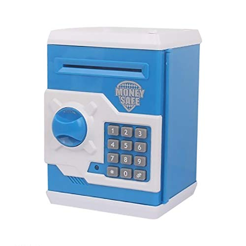 Smart Voice Piggy Bank Electronic Money Bank for Kids Mini ATM Cash Coin Saving Box with Electronic Lock & Auto Scroll Paper Money Coin Best Toy Gifts for Children Boys Girls (A)