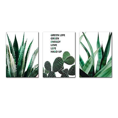 Suuyar Groene Poster Cactus Canvas Schilderij Nordic Posters Plant Print Wall Art voor Woonkamer Muur Foto Bladeren Canvas-50x70cmx3pcs geen frame