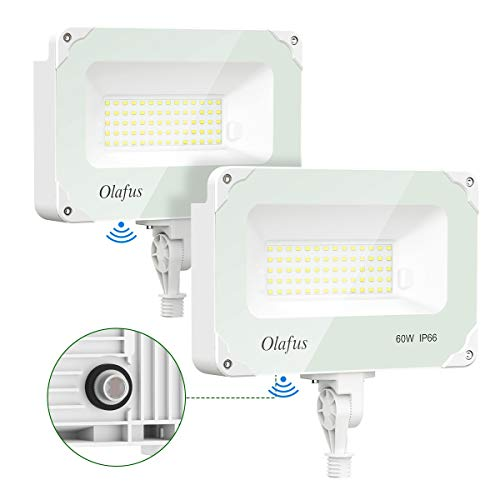 Olafus 2 Pack 60W LED Flood Light Outdoor Dusk to Dawn, 6000LM Photocell Security Lights IP66 Waterproof, Knuckle Mount Outside Lighting, 5000K Daylight Exterior Floodlight for Barn Yard Garage Lawn