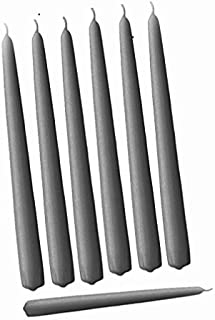 D'light Online Elegant Taper Premium Quality Candles, Hand-Dipped, Dripless and Smokeles - Set of 12 Individually Wrapped (10 Inch, Slate Grey)