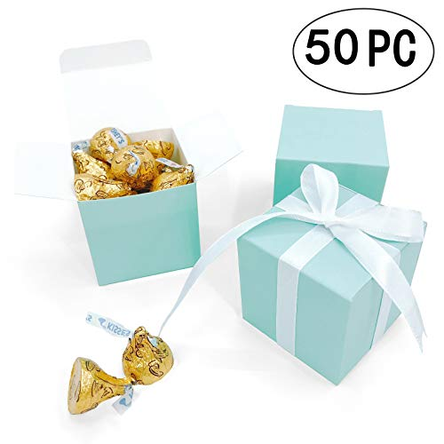 Turquoise Small Cube Candy Boxes Bulk Teal Blue Wedding Party Favors Gift Boxes Baby Bridal Shower Thank You Treat Candy Boxes Supplies, 2x2x2 inch, 50pc