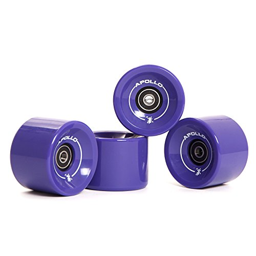 Apollo Longboard Rollen, Wheel Set inkl. Kugellager, 78A - 70mm, Farbe: Solid Puple/Lila
