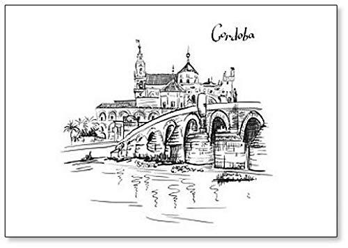 Gran Mezquita Mezquita – Catedral de Córdoba Andalucía, España ilustración clásico imán para nevera