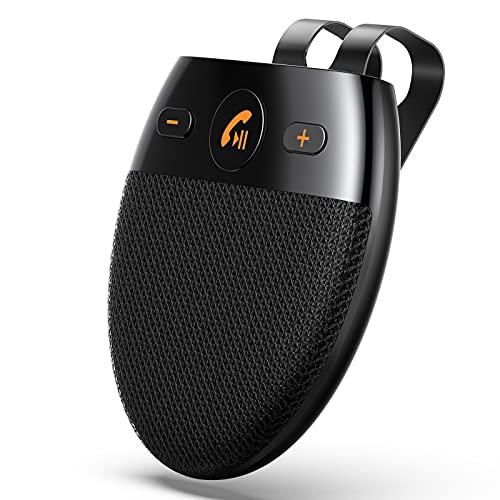 AGPTEK Kit de Coche Altavoz Inalámbrico 5.0 con Siri, Manos Libres para Coche Bluetooth con Encendido Automático y Emparejamiento Inteligente, Conexión de 2 Teléfonos Simultáneamente, Negro