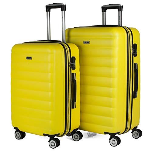 ITACA - Juego de Maletas de Viaje Rígidas 4 Ruedas Trolley 65 75 cm ABS. Extensibles. Cómodas Prácticas y Ligeras. Mediana y Grande. Calidad y Precio 71216, Color Amarillo