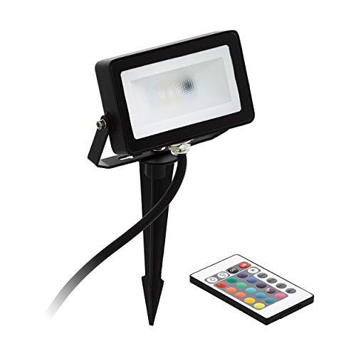 EGLO LED RGB Außen-Strahler Faedo 4, inkl. RGB Fernbedienung, dimmbar, 1 flammige Außenleuchte inkl. Erdspieß, Material: Alu, Kunststoff, Farbe: Schwarz, IP44