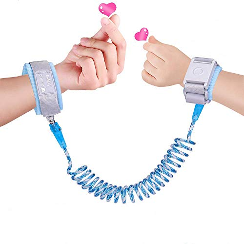 Toddler Safety Harnesses & Leashes, CGBOOM Kid Wrist Link with Induction Lock, Child Anti-Lost Wrist Leash Toddler Walking Belt, Night Reflective Assistant Strap for Baby & Kid (Blue)