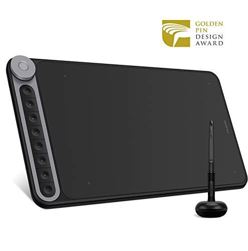 HUION Inspiroy Dial Q620M Tablette Graphique 10.5 x 6.56 Pouces avec Stylet Passif 8192 Niveaux, 8 Touches de Raccourci et 1 Dial, sans Fil pour la Peinture, Compatible avec Windows/Mac/Android