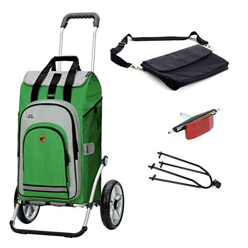 Andersen Einkaufstrolley Royal mit Fahrrad-Anhängerkupplung und 62 Liter Einkaufstasche Hydro mit Kühlfach grün, extra Laptoptasche
