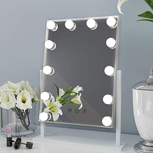 ANGNYA Hollywood Spiegel mit Licht,Beleuchteter Kosmetikspiegel mit 12 dimmbaren LED-Lampen Touch-Steuerung Tabletop 360°drehbar Hollywood Schminkspiegel (Weiß)