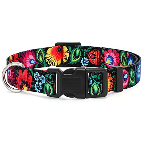 WHIPPY Girl Floral Collar for Small Medium Large Dog Adjustable Lightweight Nylon Flower Print Dog Collar with Quick Release Buckle Personalized Soft Comfortable Puppy Collar,Black,S