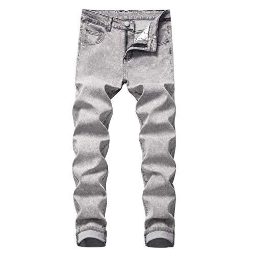 Huntrly Pantalones Vaqueros para Hombre Pantalones Vaqueros Ajustados elásticos Casuales Simples Pantalones de Mezclilla de Moda Versión Regular Europea y Americana 30