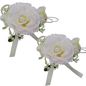 Silk Flower Arrangements Arlai Set of 2, (Beige Yellow) Pin Corsage, Artificial Flowers, Party, Wedding, Birthday