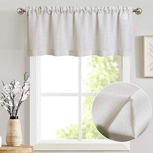 jinchan Linen Valance for Kitchen Living Room Rod Pocket Flax Rustic Window Treatments 1 Panel 15 inch Length White