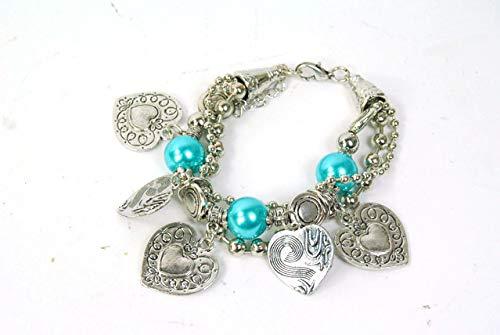 FSL Jewellery Silver Bracelet with Baby Blue heart charm detail