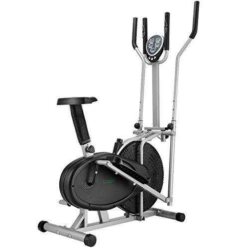 Finether Vélo Elliptique Mixte Adulte Vélo d'appartement Trainer avec la Fréquence Cardiaque 5 Ecrans LCD, Pouls à la Main, Réglable Résistance, Capacité 120 kg, Noir