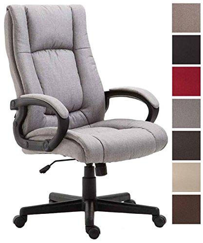 CLP Bürostuhl XL Sparta mit Stoffbezug | Drehbarer Chefsessel mit Wippmechanismus | Drehstuhl mit Armlehnen l Max. Belastbarkeit 140 kg Grau
