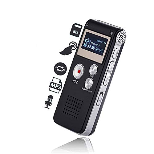 KDRose Digital Voice Recorder Voice Activated for Lectures,Meetings&Class,Portable 8GB Digital Activate Audio Tape Recording Device with Double Sensitive Microphone&MP3 Playback