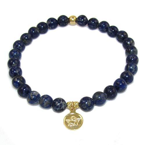 samaki - Lapislazuli Karma Edelstein Armband mit Schutzengel Amulett #behütet