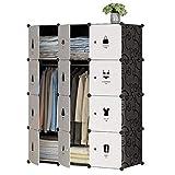 LYLY Armario portátil para colgar ropa combinada, armario modular para ahorrar espacio, armario combinado (color: blanco)