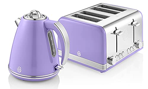 Swan Retro Jug Kettle and 4-Slice Toaster Set in Purple, Vintage Style, Chrome Details, Variety of Settings, STP7041PURN