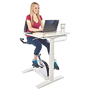 FitStudent Varsity Bike Desk - Standing Desk Exercise Bike with 8 Position Magnetic Resistance - Height Adjustable Desk and Seat with Storage Basket - Heavy Duty Steel Frame, White