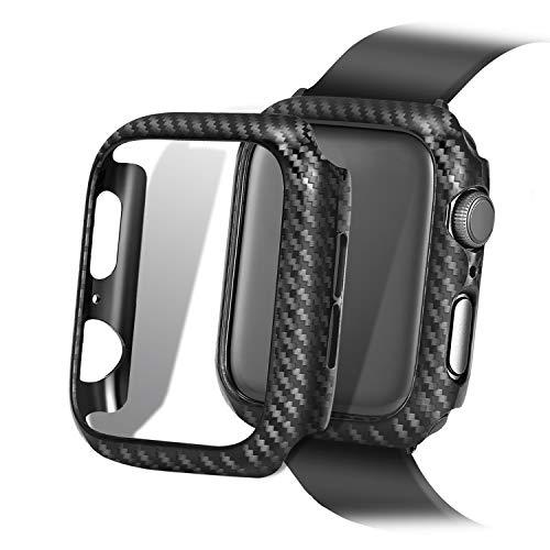 KUMARS Nero Custodia Protezione Rigida Apple Watch 44mm Serie 5 Serie 4 Fibra di Carbonio Cover Apple Watch 5 per Apple Watch Series 5 Series 4 44mm Alto-Gloss Superficie di Finitura in Tessuto Twill
