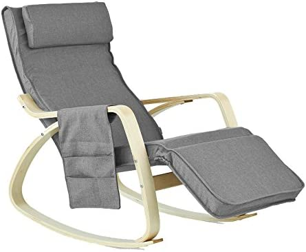 SoBuy Comfortable Relax Rocking Chair with Foot Rest Design, Lounge Chair, Recliners Poly-cotton Fabric Cushion (FST16-DG)