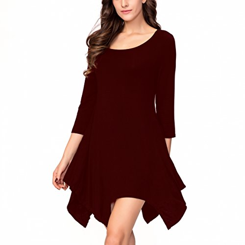 One Sight Women's Long Sleeve Casual Swing Loose T-shirt Dress with Pockets