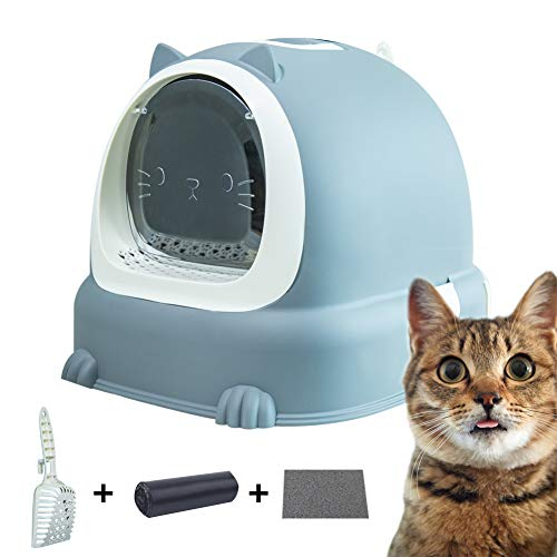 JX FITNESS Cat Litter Box with Removable Tray, Scoop, Waste Bag - Reduces Litter Tracking - Anti-Splashing and Deodorizing Fully Enclosed Hooded Kitty Litter Pan