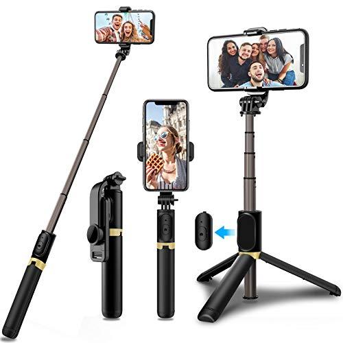JPARR Bluetooth Selfie Stick Stativ, 360°Rotation Selfiestick Monopod mit Fernbedienung kabellos Selfie-Stange für iPhone Android Smartphones