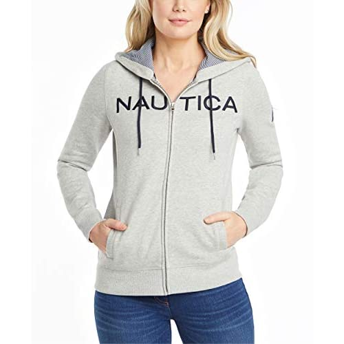 Nautica Women's Go-to Signature Cotton Full-Zip Logo Hoodie Hooded Sweatshirt