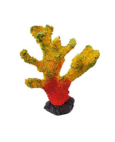takestop® koraal van hars geel oranje 13 x 6 x 16 cm tuin onderwater ornament voor aquarium decoratie stenen