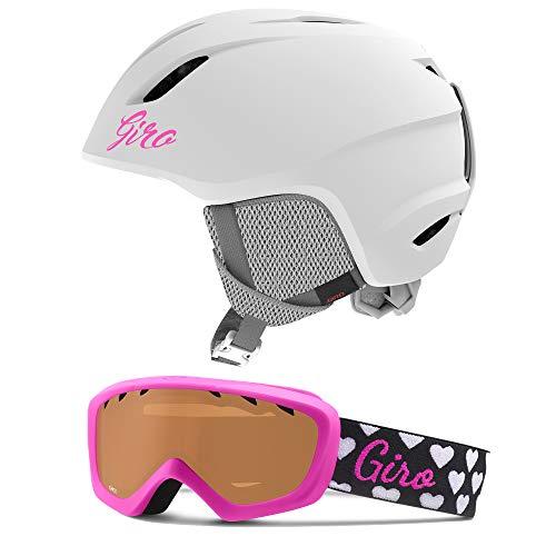 Giro Launch Kids Snow Helmet Goggle Combo Matte White/Magenta Hearts XS (48.5-52CM)