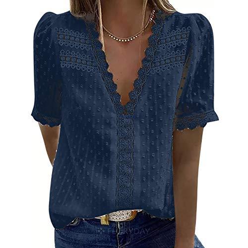FMYONF Camisa de encaje para mujer, cuello en V, elegante, vintage, gasa, monocolor, manga corta, túnica, azul marino., M