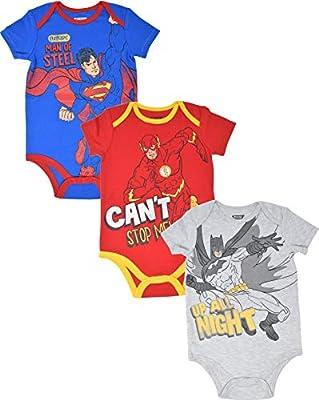 Warner Bros. Baby Boys 3 Pack Bodysuits: Batman Superman Flash 3-6 Months