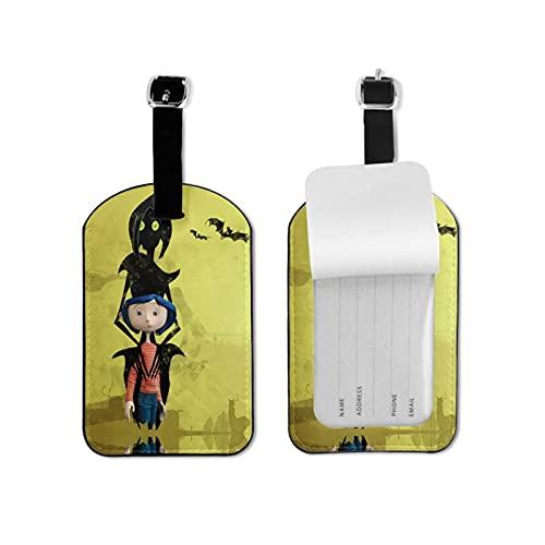 Etiquetas de equipaje Coraline para equipaje de viaje, etiquetas de identificación, etiquetas de microfibra de piel sintética de 2.7 x 4.3 pulgadas
