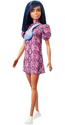 Barbie Fashionistas Doll with Blue Hair Wearing Pink & Black Dress, White Sneakers & Bag, Toy for Kids 3 to 8 Years Old