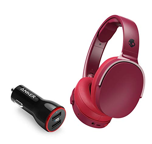 Skullcandy HESH 3 Noise-Isolating Over-Ear Wireless Bluetooth Headphone Bundle with 2-Port USB Car Charger - Moab/Red/Black