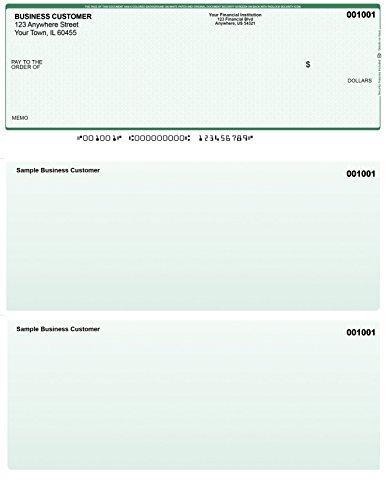 Green Safety Computer Checks - 50 Printed Laser Computer Voucher Checks - Compatible for Quickbooks