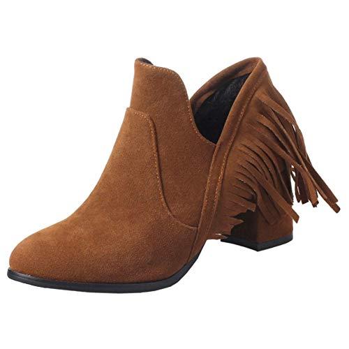 COOLCEPT Damen Schuhe Klassischer Stiefel Blockabsatz Western Fransen Stiefel Herbst Ankle Boots Booties Brown Gr 35 Asian