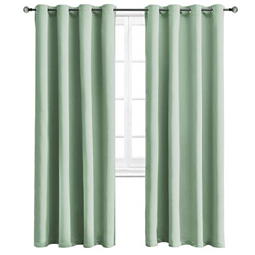 WONTEX Blackout Curtains Room Darkening Thermal Insulated with Grommet Curtains for Living Room, 52 x 84 inch, Light Green, 2 Panels