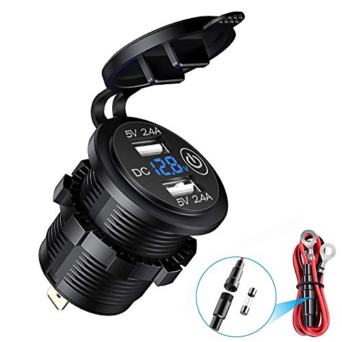 Enchufe de carga doble USB para coche, voltímetro digital LED, enchufe USB, 2,4 A y 2,4 A, cargador rápido impermeable para coches de 12 V/24 V, motocicletas, camiones, color azul