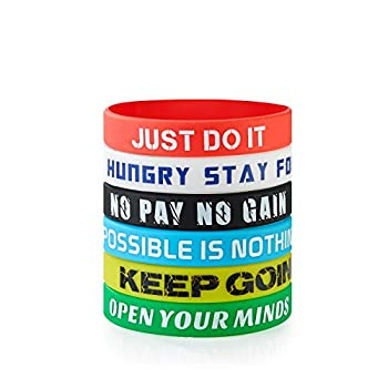BRANDWINLITE Rubber Silicone Wristbands Inspirational Rubber Bracelets,Messages Motivation and Inspiration,Non-Toxic Hypoallergenic,Gifts for Men Ladies and Teens
