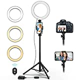 QIAYA Selfie Ring Light with Tripod Stand and Phone Holder LED Circle Lights Halo Lighting for Make Up Live Steaming Photo Photography Vlogging Video, 54 Tall, QY00301-N