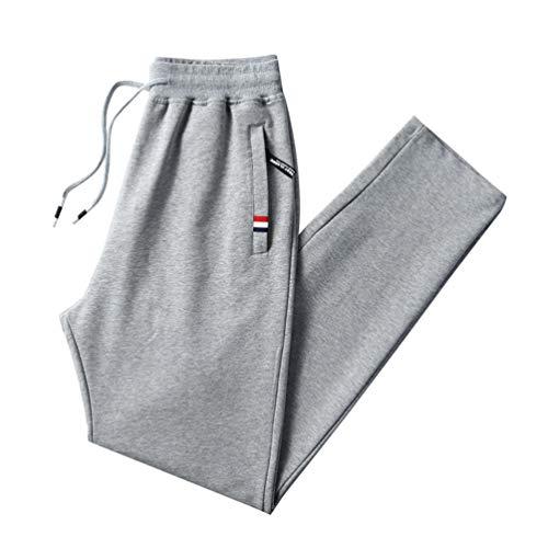 LaoZan Cordón de la Cintura Pantalones Hombre Casuales Deporte Elásticos Joggers Largos Pants con Bolsillos Cargo Trousers (Gris Claro,XL)
