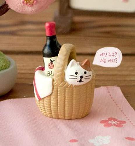 QAZWSX Reise Katze San Mao Katze Harz Ornamente DREI Haare kleinen Korb kleine Ornamente@Weinkorb mit DREI Haaren