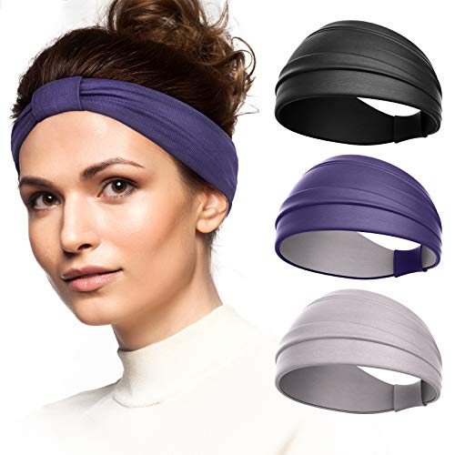 Vinsguir 3 Pack Knotted Sweat Bands Headbands for Women Working Out, Sweat Wicking Running Headband with Button for Girls, Non Slip Hair Band Head Wraps Fashion Turbans for Gym Exercise Yoga