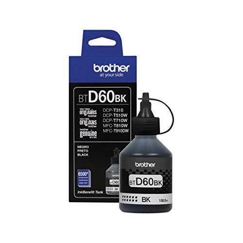 BROTHER Botella de Tinta Negra de Ultra Rendimiento Repuesto de Tinta para 1 Piece (BRT BTD60BK)
