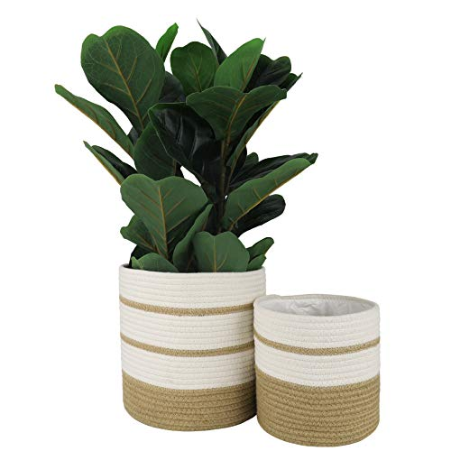 LA JOLIE MUSE- Maceta de algodón y Yute para Plantas, 25,5 + 20,5 cm, macetas Tejidas para Interiores, versátiles recipientes de Almacenamiento, Color Blanco y Yute, Juego de 2